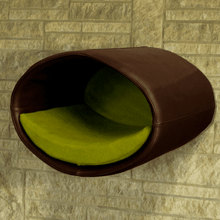 Pet Interiors Cat Beds Brown / Pea Green Rondo Wall Cat Leather Cave by Pet Interiors PetsOwnUs - Pets Own Us