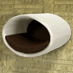 Pet Interiors Cat Beds Cream / Dark Brown Rondo Wall Cat Leather Cave by Pet Interiors PetsOwnUs - Pets Own Us