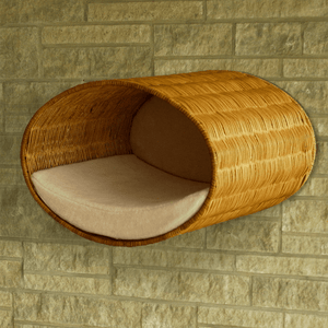 Pet Interiors Cat Beds Cream Rondo Wall Cat Wicker Cave by Pet Interiors PetsOwnUs - Pets Own Us