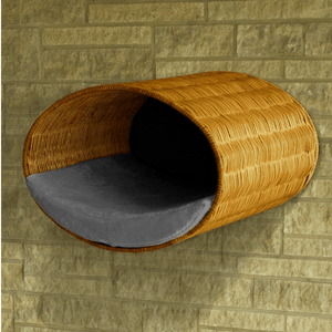 Pet Interiors Cat Beds Grey Rondo Wall Cat Wicker Cave by Pet Interiors PetsOwnUs - Pets Own Us