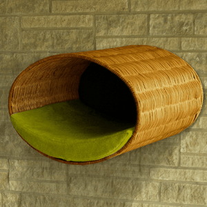 Pet Interiors Cat Beds Pea Green Rondo Wall Cat Wicker Cave by Pet Interiors PetsOwnUs - Pets Own Us
