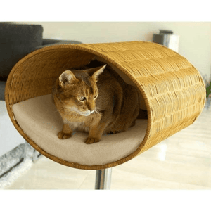 Pet Interiors Cat Beds Cream Rondo Wicker Cat Cave Stand by Pet Interiors PetsOwnUs - Pets Own Us