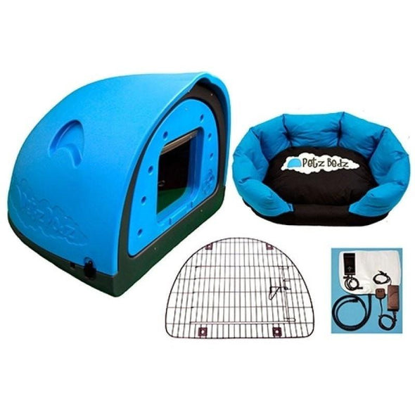 Petz Podz Pet carriers & crates Medium / Blue Luxury Revolution MultiPack Dog Den (incl. bed, flap & heated blanket) - by PetzPodz PP-00003 PetsOwnUs - Pets Own Us