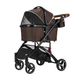 Piccolocane 3 wheel dog strollers Brown Piccolocane Carino2 Luxury Dog Stroller - Brown DG5128-Br PetsOwnUs - Pets Own Us