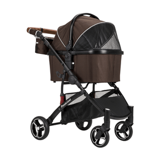 Piccolocane 3 wheel dog strollers Piccolocane Carino2 Luxury Dog Stroller - Brown PetsOwnUs - Pets Own Us