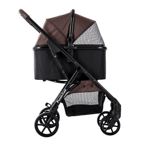 Piccolocane 4 wheel dog strollers Piccolocane® Eco Luxury Dog Stroller | Detachable Carry-Cot | Brown & Black DG618-BBW PetsOwnUs - Pets Own Us
