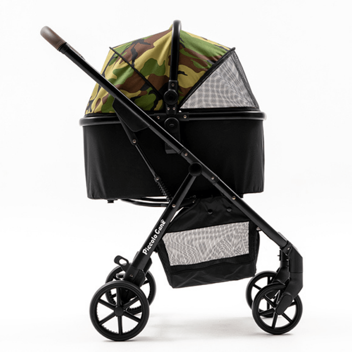 Piccolocane® Eco Luxury Dog Stroller | Detachable Carry-Cot | Camouflage & Black