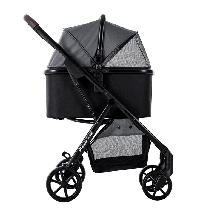 Piccolocane® Eco Luxury Dog Stroller | Detachable Carry-Cot | Grey & Black