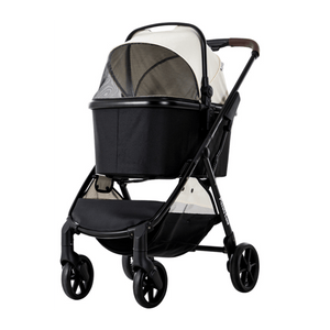 Piccolocane 4 wheel dog strollers Piccolocane Eco Luxury Dog Stroller | Detachable Carry-Cot | Ivory & Black DG618-BBI PetsOwnUs - Pets Own Us