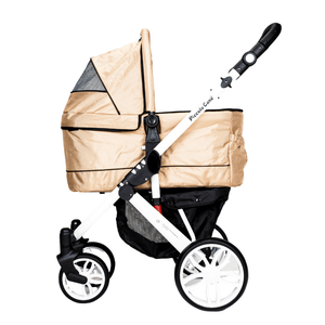 Piccolocane 3 wheel dog strollers Piccolocane Tanto2 Luxury Dog Stroller with Free Rain Cover - Almond Beige PetsOwnUs - Pets Own Us