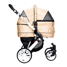 Piccolocane 3 wheel dog strollers Almond Beige Piccolocane Tanto2 Luxury Dog Stroller with Free Rain Cover - Black DG166-AB PetsOwnUs - Pets Own Us