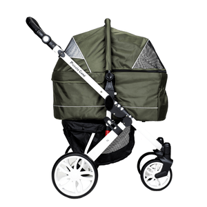 Piccolocane 3 wheel dog strollers Moss Green Piccolocane Tanto2 Luxury Dog Stroller with Free Rain Cover - Black DG166-MG PetsOwnUs - Pets Own Us