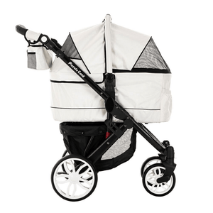 Piccolocane 3 wheel dog strollers Silver White Piccolocane Tanto2 Luxury Dog Stroller with Free Rain Cover - Black DG166-SW PetsOwnUs - Pets Own Us