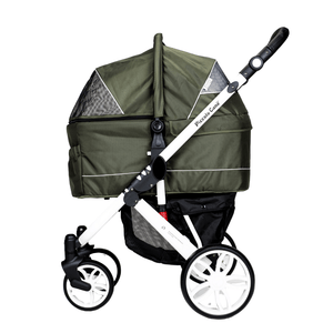 Piccolocane 3 wheel dog strollers Piccolocane Tanto2 Luxury Dog Stroller with Free Rain Cover - Moss Green PetsOwnUs - Pets Own Us