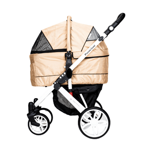 Piccolocane 3 wheel dog strollers Almond Beige Piccolocane Tanto2 Luxury Dog Stroller with Free Rain Cover - Wine DG166-AB PetsOwnUs - Pets Own Us