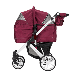 Piccolocane 3 wheel dog strollers Piccolocane Tanto2 Luxury Dog Stroller with Free Rain Cover - Wine PetsOwnUs - Pets Own Us