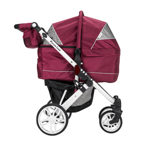 Piccolocane 3 wheel dog strollers Wine Piccolocane Tanto2 Luxury Dog Stroller with Free Rain Cover - Wine DG166-W PetsOwnUs - Pets Own Us