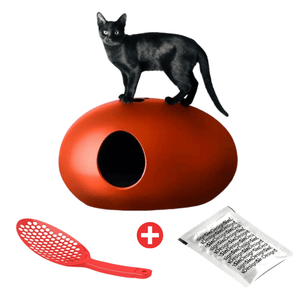 Sin Design Cat Litter Box Red / No Poopoopeedo Cat Litter by Sin Design - Black PetsOwnUs - Pets Own Us