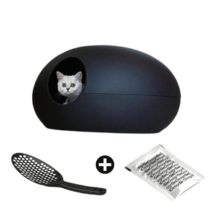 Sin Design Cat Litter Box Black / No Poopoopeedo Cat Litter by Sin Design - Red PetsOwnUs - Pets Own Us