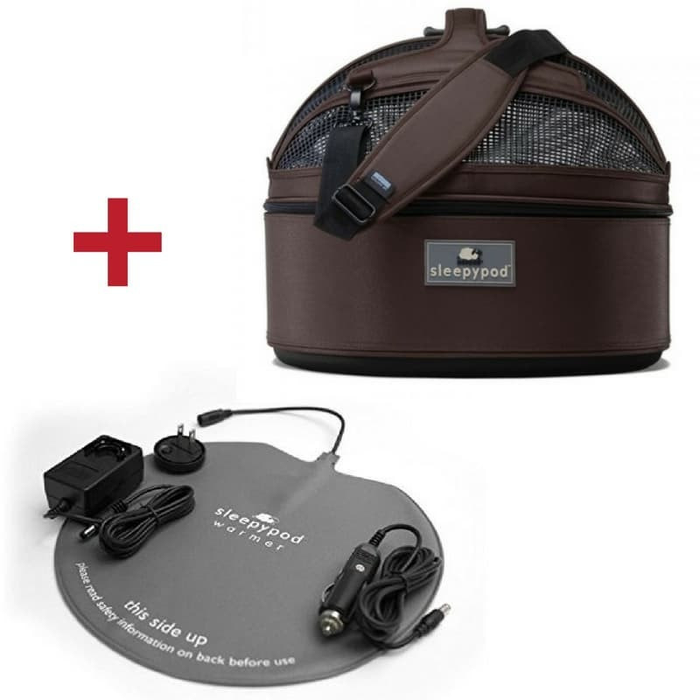Sleepypod Mobile Pet Bed, Carrier & Warmer Kit Set, Dark Chocolate
