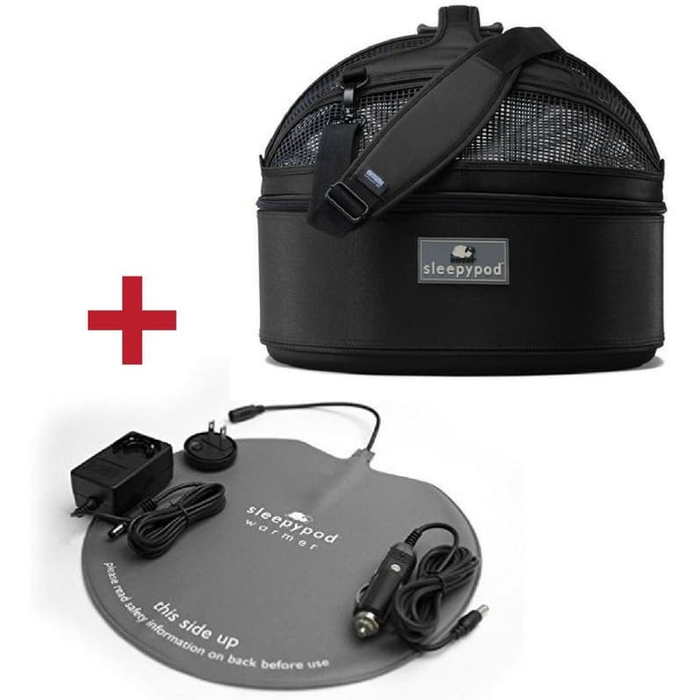 Sleepypod Mobile Pet Bed, Carrier & Warmer Kit Set, Jet Black