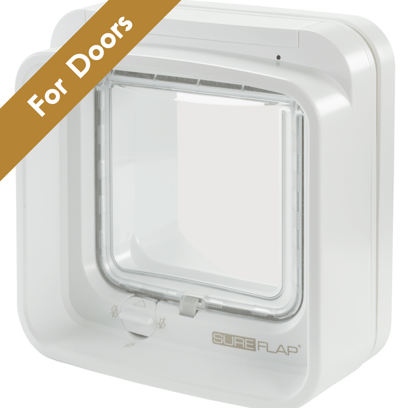 Sure Flap Smart Pet Tech White SureFlap Dual Scan Microchip Cat Flap for Multi Cats - Door Installation 5060180390389 PetsOwnUs - Pets Own Us