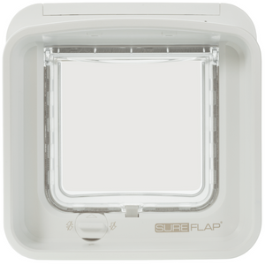 Sure Flap Smart Pet Tech White SureFlap Dual Scan Microchip Cat Flap for Multi Cats - Glass Installation 5060180390389 PetsOwnUs - Pets Own Us