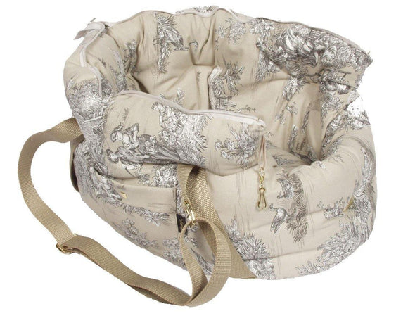 Suzy's Pet Carrier & Crates Small Baroque Luxury Shoulder Pet Carrier in Beige by Suzy's 069-0138-BE-S PetsOwnUs - Pets Own Us