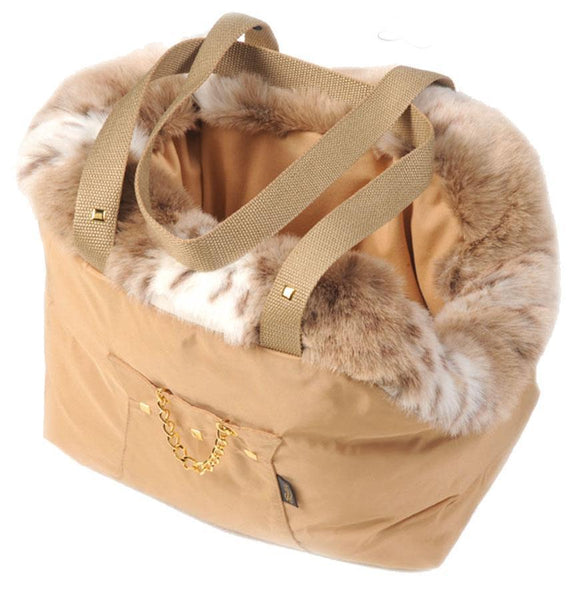 Suzy's Pet Carrier & Crates Small Cupido Luxury Fur Lined Pet Carrier in Beige by Suzy's 069-0138-BE-S PetsOwnUs - Pets Own Us