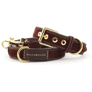 William Walker Dog Collar & Lead Suede Leather Dog Collar by William Walker - Makassar PetsOwnUs - Pets Own Us