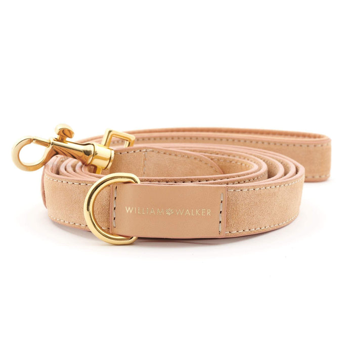 Suede Leather Dog Leash by William Walker - Coral