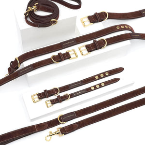 William Walker Dog Collar & Lead Suede Leather Dog Leash by William Walker - Makassar PetsOwnUs - Pets Own Us