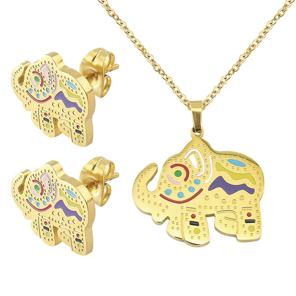 Chubby Gold Plated Elephant Necklace Earring Jewelry Set 2 piece