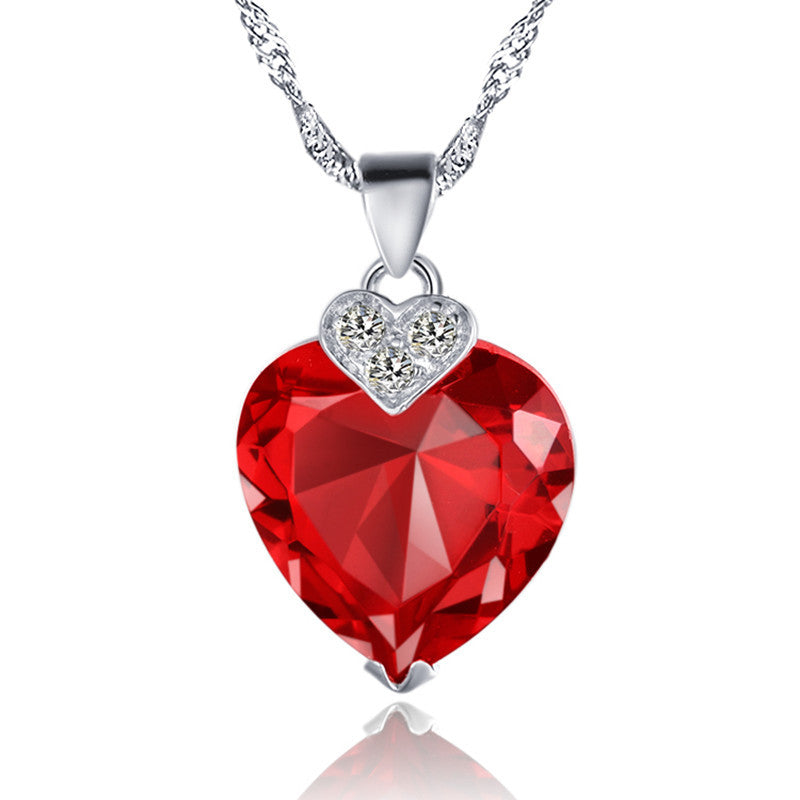 Stunning ruby red love heart pendant necklace quiet or loud stunning ruby red love heart pendant necklace mozeypictures Gallery