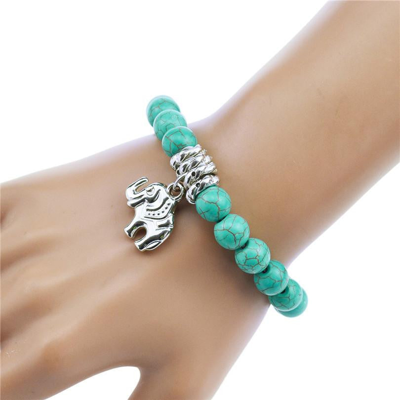 Finest Adjustable Turquoise Beaded Bracelet with Elephant Charm – Quiet  UC19