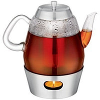 Glass Teapot 5 Cup With Infuser Insert And Tea Light Warmer Base