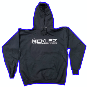Reklez Suspension Works Black Hoodie with Grey Letters Reklez Gear