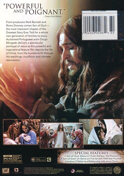 From producers Mark Burnett and Roma Downey comes Son of God - the most important chapter of the Greatest Story Ever Told for a whole new generation of families to enjoy. Acclaimed Portuguese actor Diogo Morgado delivers a spectacular portrayal of Jesus as this powerful and inspirational feature film depicts the life of Christ, from His humble birth through His teachings, crucifixion and ultimate resurrection.