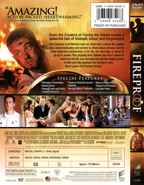 Fireproof (A prueba de fuego, en español) A heroic fireman locked in a failing marriage accepts his father's challenge to take part in a 40-day experiment designed to teach both husband and wife the true meaning of commitment in this faith-based marriage drama starring Kirk Cameron and Erin Bethea