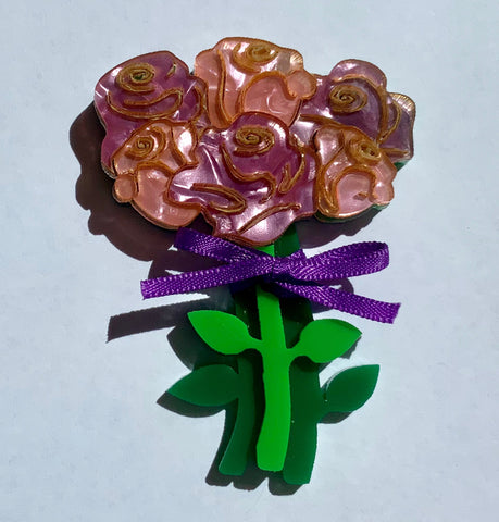 I Love You A Bunch Brooch - Purple/Pink