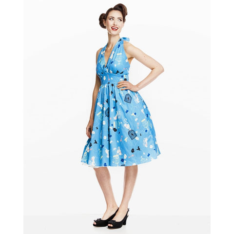 'Marilyn' Turquoise Birdcage Cat Print Swing Dress