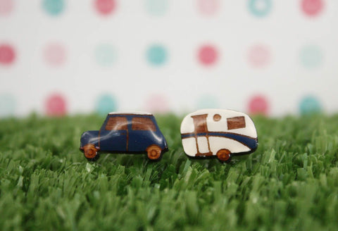Car and Caravan Earrings - Blue