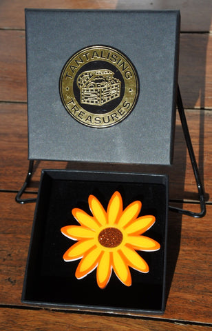 Orange Sunburst Gerbera Brooch