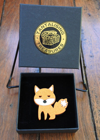April the Autumn Fox Brooch