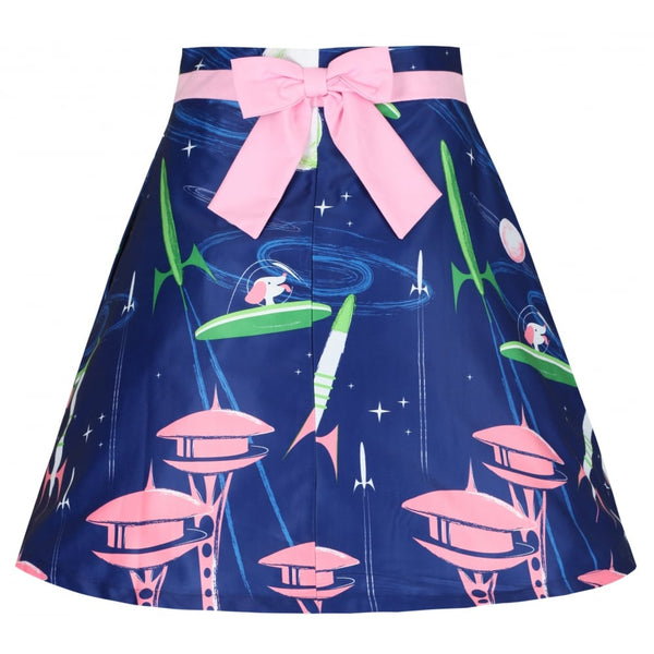 'Alizey' Navy Space Dog Print Flared Skirt
