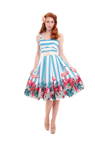 Antoinette Striped Flamingo Dress