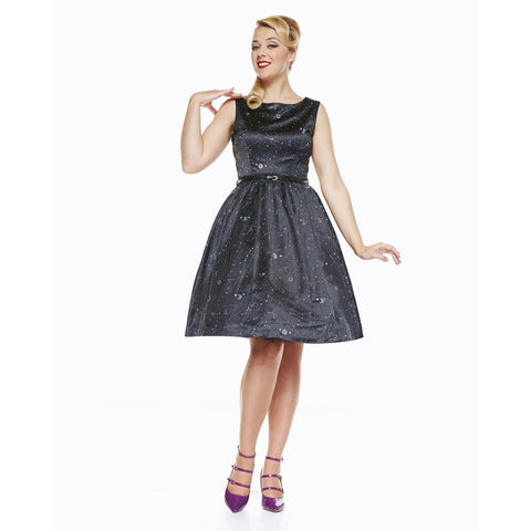 'Audrey' Space Print Black Satin Swing Dress