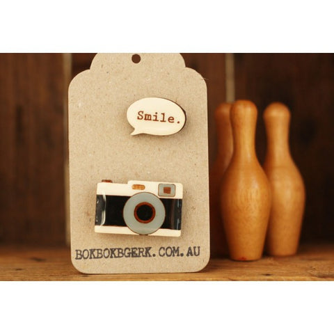 "Camera ""Smile"" Brooch"