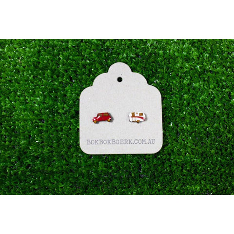 Car and Caravan Earrings (red)