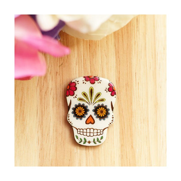 Mexican Fiesta Sugar Skull Brooch